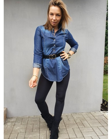 Tunika jeansowa koszula V380