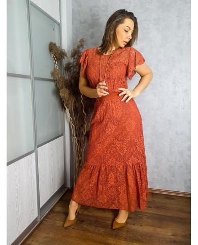 Sukienka koronkowa maxi RUDA